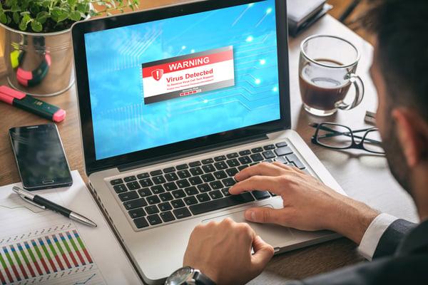 Employee computer virus malware hacked